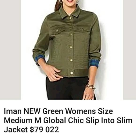 IMAN Jackets & Blazers - Stretch denim army green jean jacket